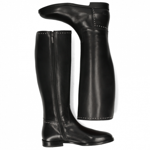 Bottes Susan 53 Black Rivets Nickle Crown Nappa