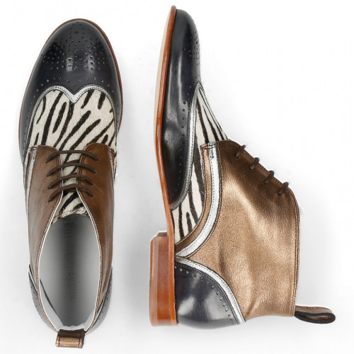 Bottines Sally 30 Vegas London Fog Nappa Aztek Bronze Hairon Young Zebra
