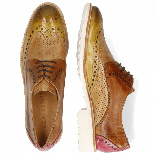 Derbies Amelie 3 Cedro Tan Fuxia Perfo New Sand