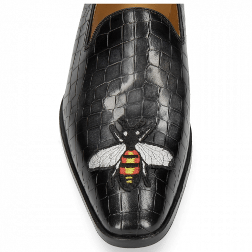 Mocassins Prince 1 Crock Black Toe Patch Bee