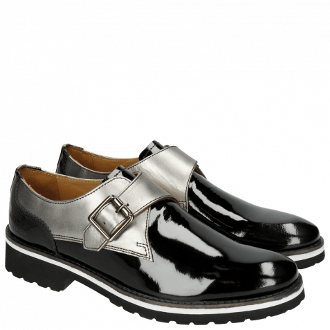 Monks Esther 5 Patent Black Laminato Gunmetal Rook D Black