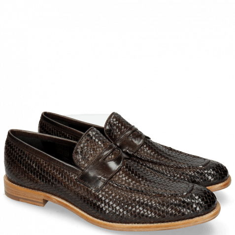 Mocassins Eddy 44 Haring Bone Weave Dark Brown Lining Nappa