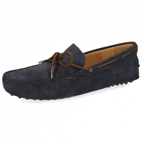 Mocassins Nelson 3 Suede Pattini Navy Laces Brown