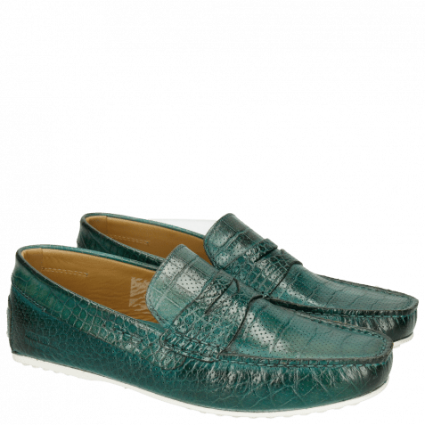Mocassins Driver 8 Big Croco Perfo Turquoise