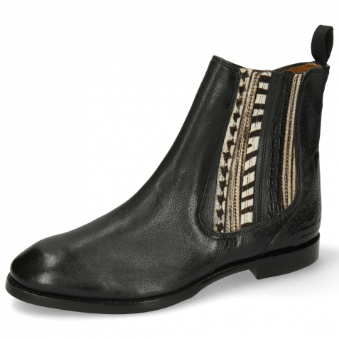 Bottines Lexi 2 Pisa Black Croco Hairon Stripes