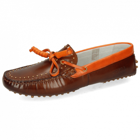 Mocassins Caroline 8 Mid Brown Fluo Orange Rivets