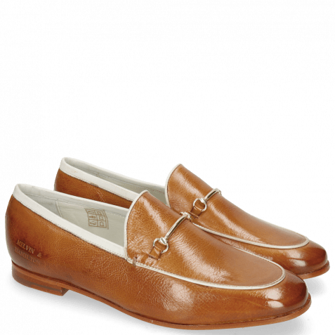 Mocassins Scarlett 47 Pisa Tan Binding Nappa White Trim Gold