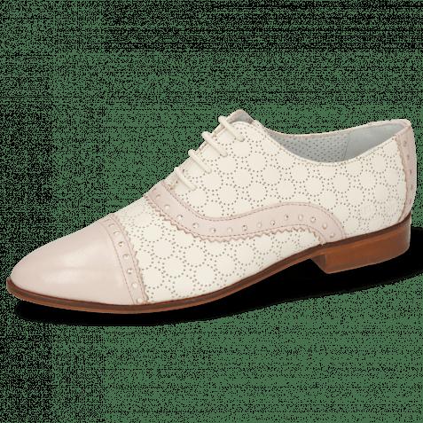 Derbies Jessy 54 Nappa Pink Sky Cream Perfo White