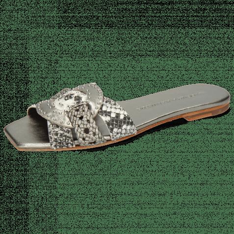 Mules Sandrine 2 Nappa Talca Aluminum Rivets Snake