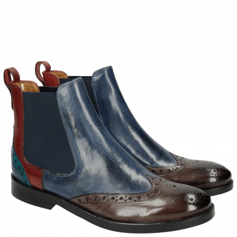Bottines Amelie 5 Stone Sky Blue Ruby Turquoise Elastic Navy LS Black