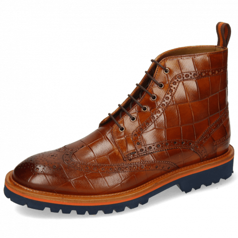 Bottines Matthew 7 Venice Turtle Cognac Loop Orange