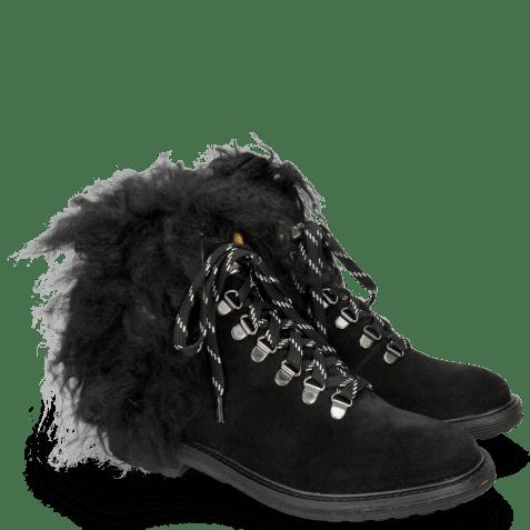 Bottines Amelie 79 Suede Pattini Black Collar Fur Mongolian
