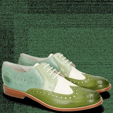 Derbies Amelie 20 Vegas Ultra Perfo White Algae Sweet Green