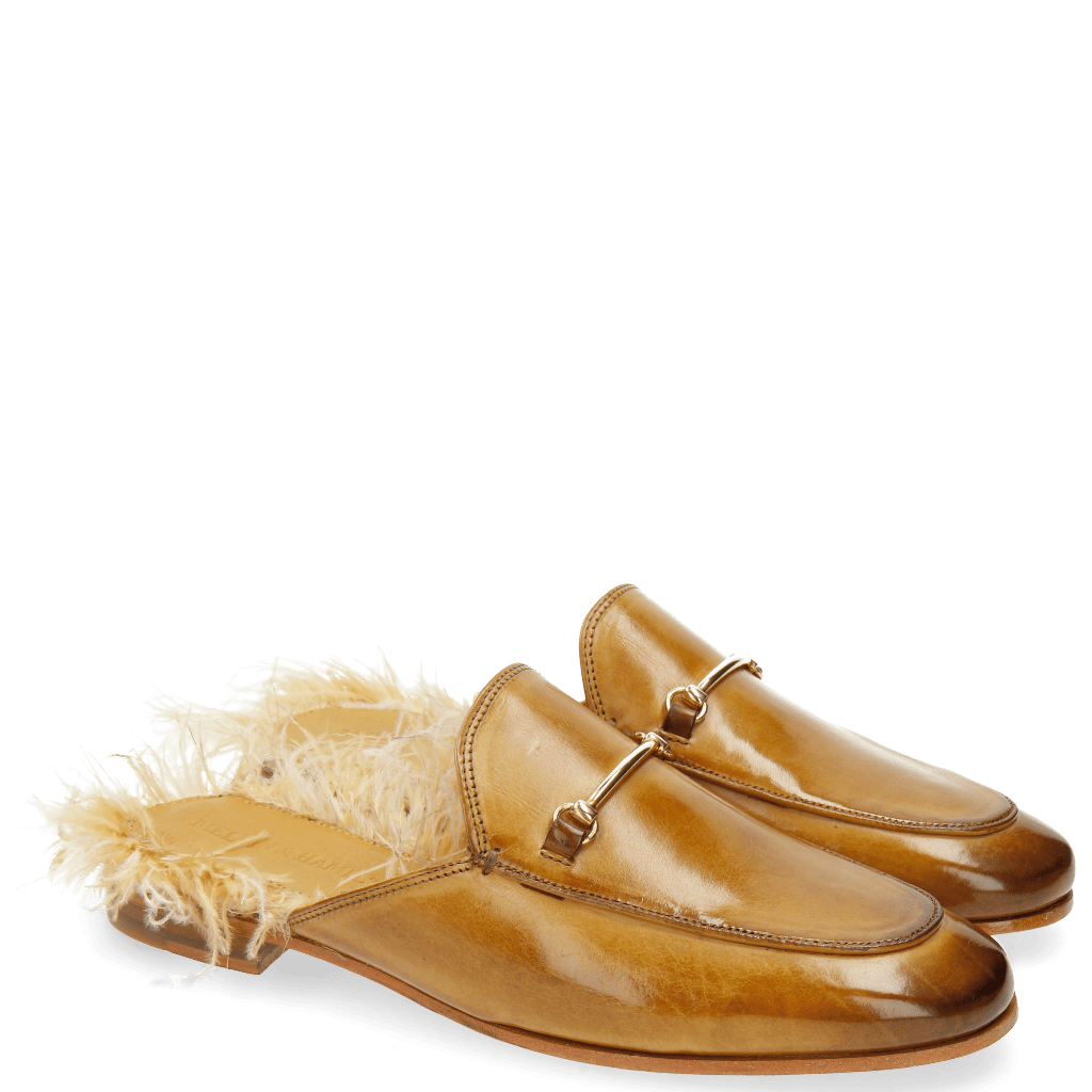 Mules Scarlett 4 Sand Footbed Feather