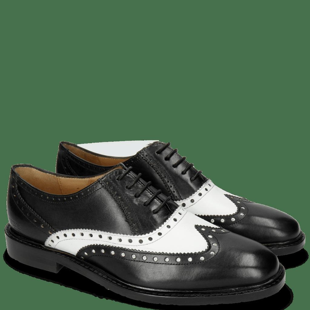 Richelieu Katrin 4 Black Nappa White M&H Rubber Black