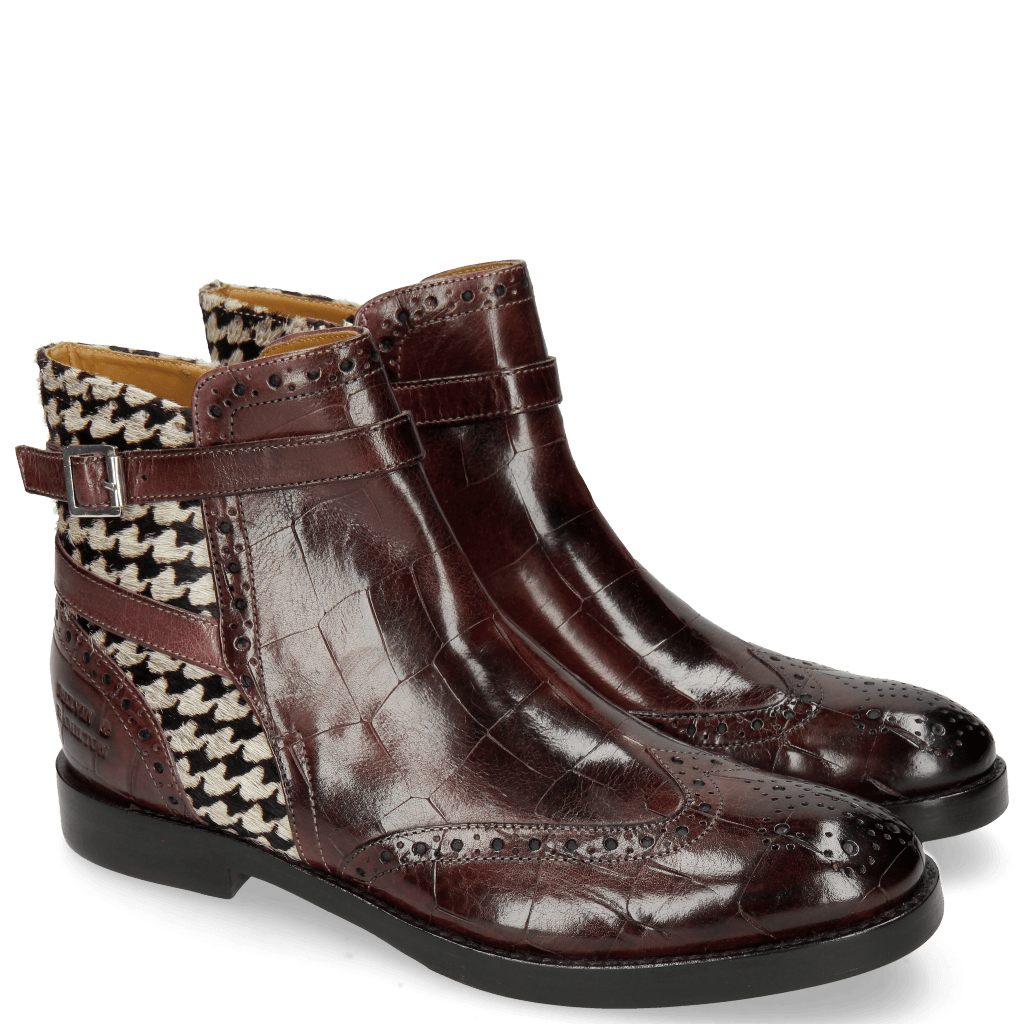 Bottines Amelie 11 Turtle Mokka Hairon Tweed Black White