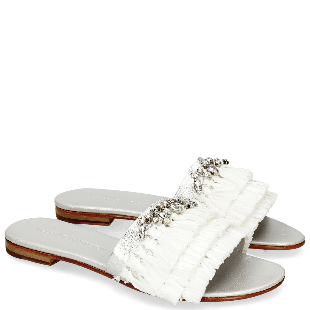 Mules Hanna 46 Cherso Silver Raffia White