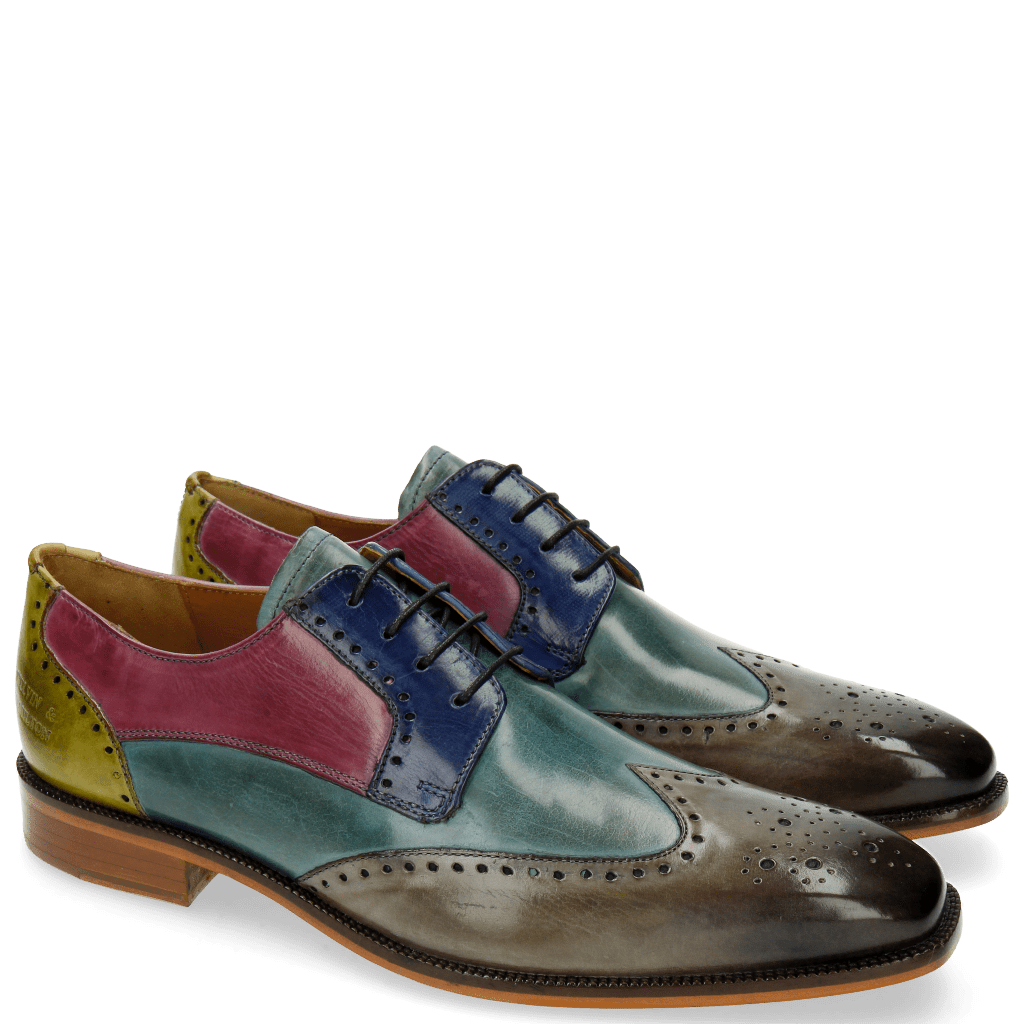 Derbies Jeff 14 Tan Cedro Arancio Bluette Rose
