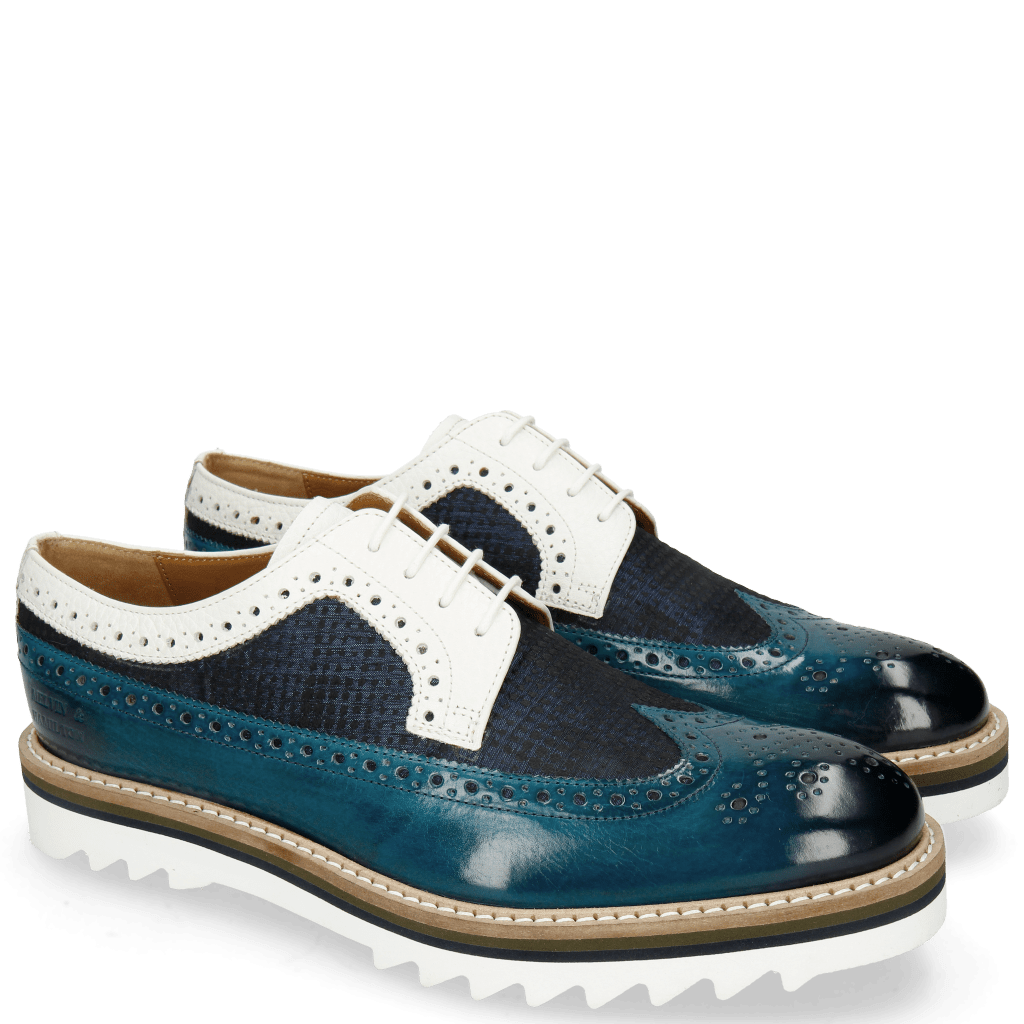 Derbies Trevor 10 Mid Blue Textile Dots Milled White