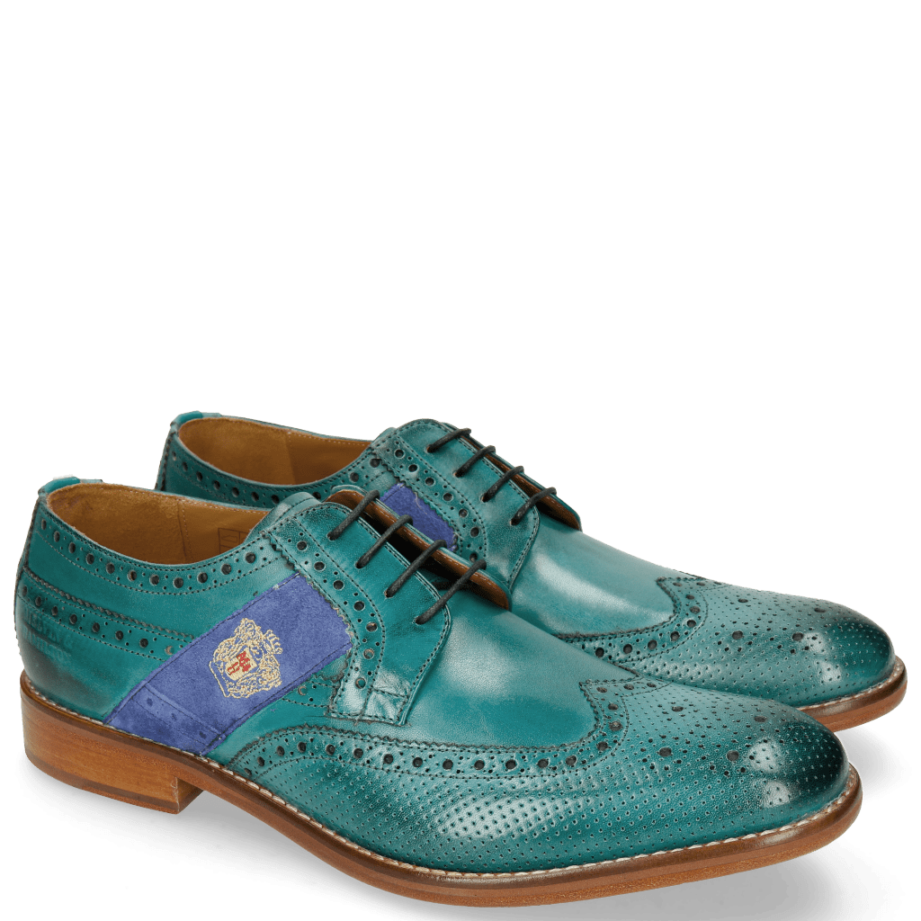 Derbies Eddy 25R Perfo Turquoise Embrodery
