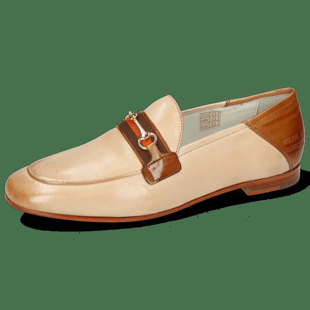 Mocassins Scarlett 45 Glove Nappa Ivory Tan Trim Gold