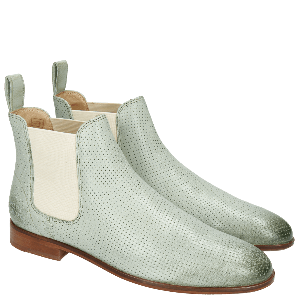 Bottines Susan 10 Salerno Perfo Sweet Green Elastic Off White