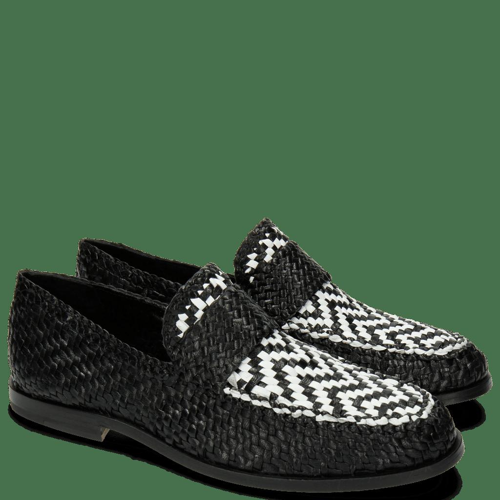 Mocassins Pit 10 Woven Black White