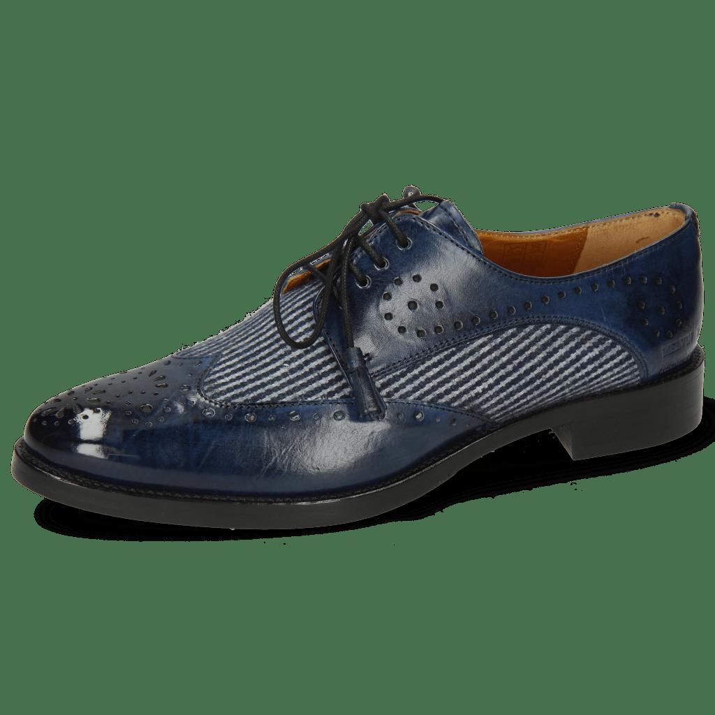 Derbies Betty 3 Mock Navy Textile Lines Blue Navy