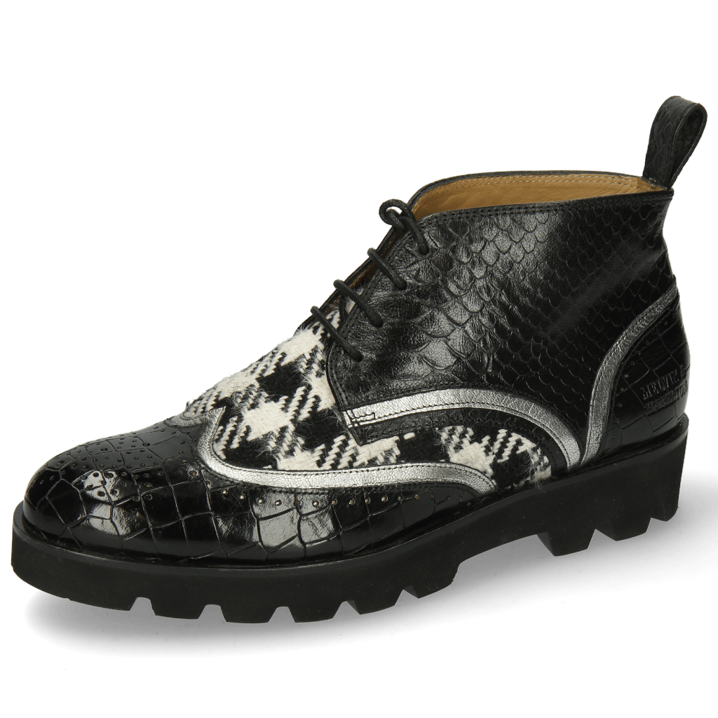 Bottines Sally 30 Crock Black Nappa Aztek Silver Textile Tweed Black White