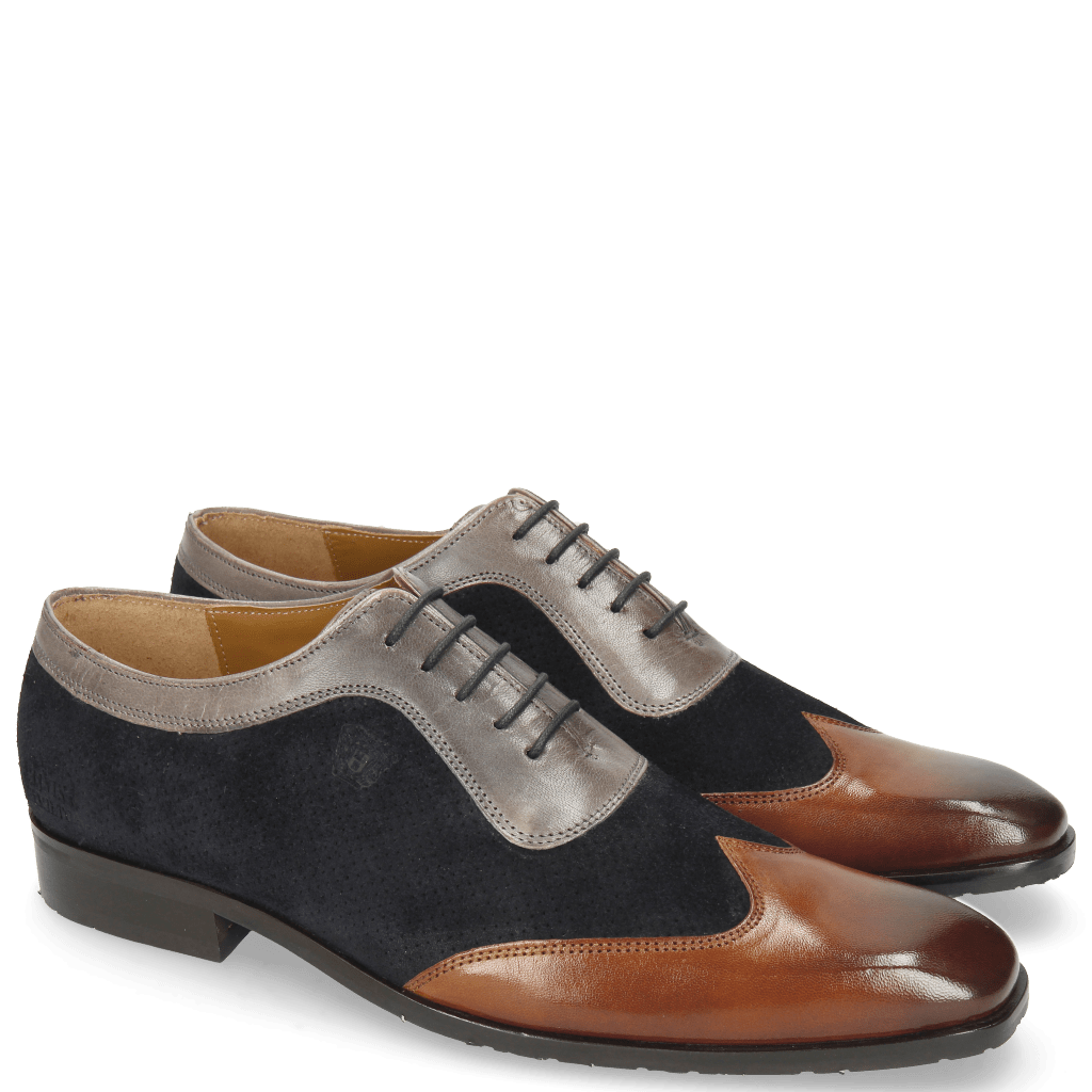 Richelieu Rico 8 Mid Brown Suede Patinni Perfo Navy Stone