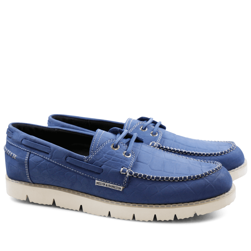 Mocassins Jim 1 Nubuk Big Croco Blue Goya White