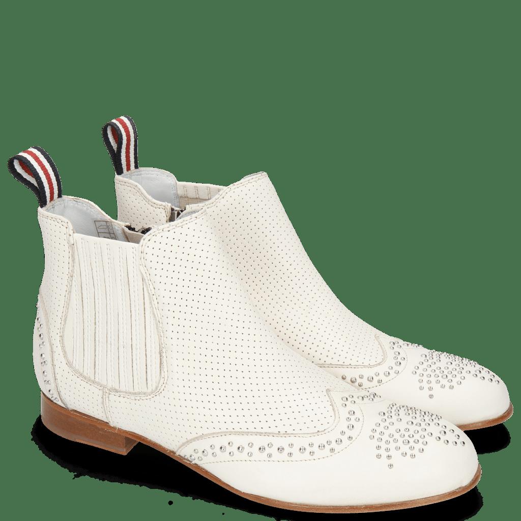 Bottines Sandy 4 Nappa Glove Perfo Cream Elastic Off White
