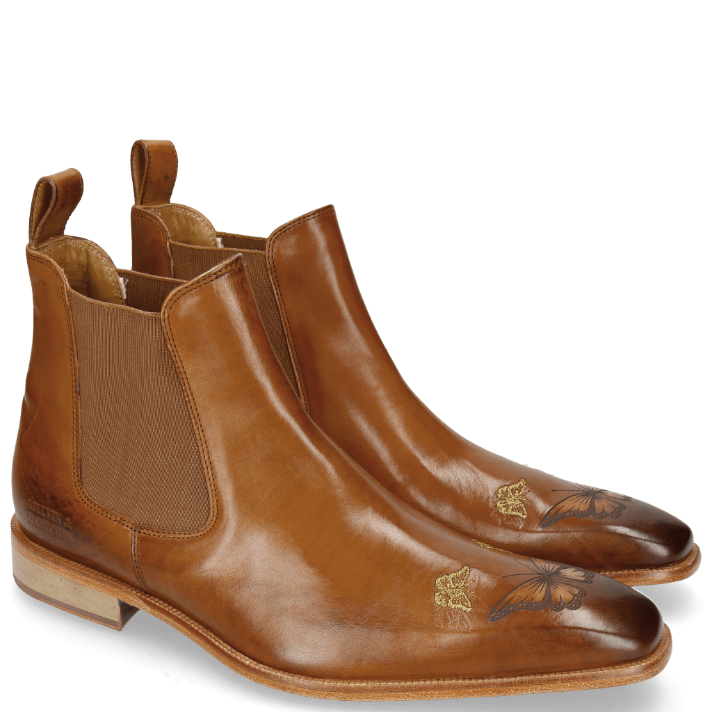 Bottines Clark 22 Tan Embroidery Small Butterfly Gold