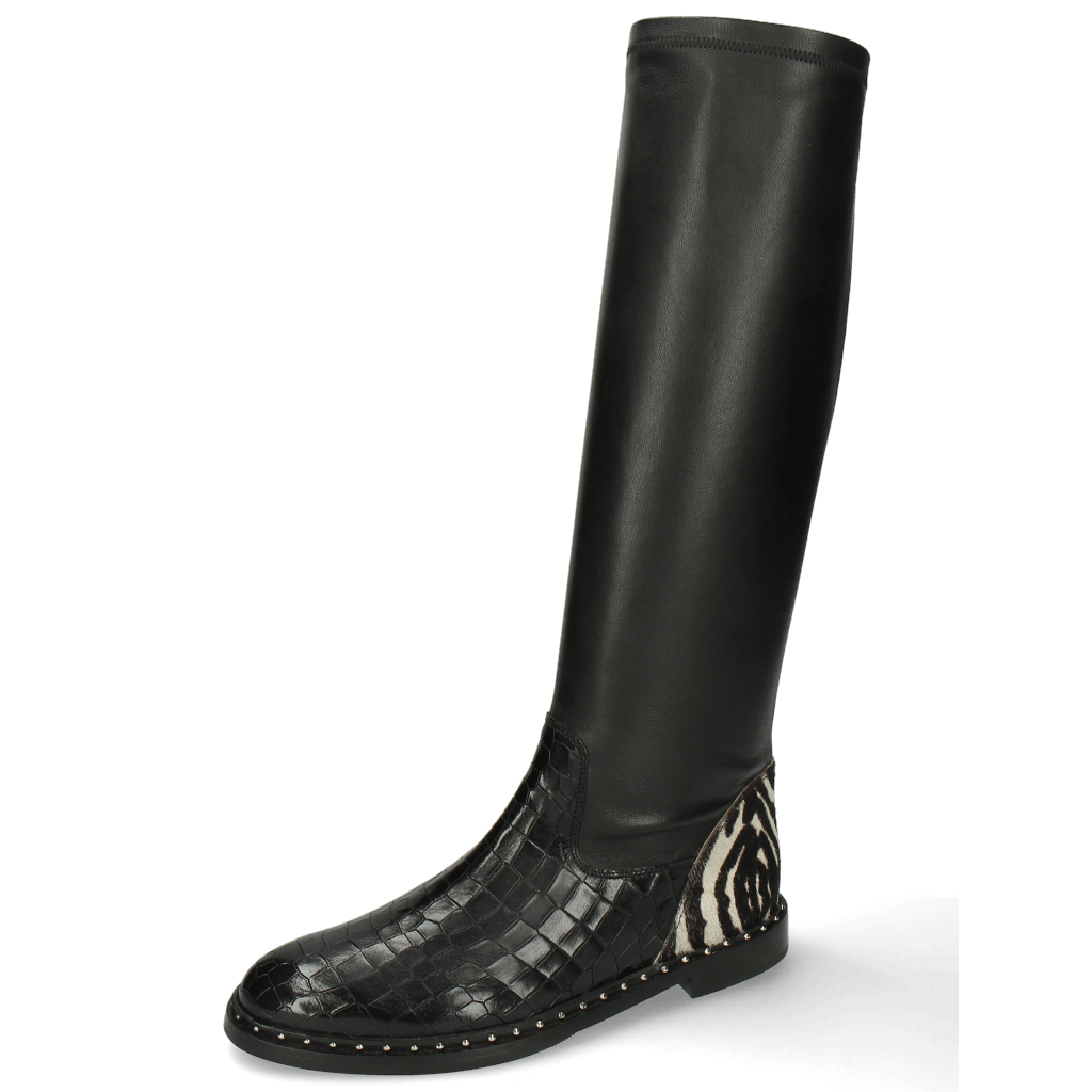 Bottes Susan 79 Crock London Fog Stretch Nappa Black Hairon New Zebra