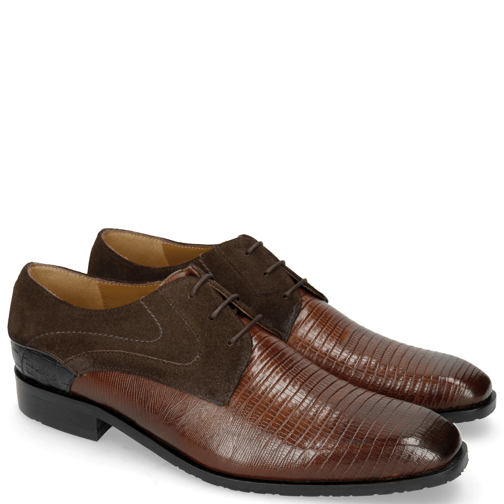 Derbies Rico 14 Venice Guana Mid Brown Suede Pattini Brown