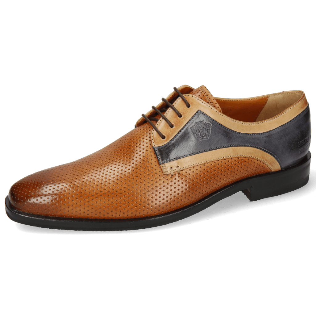 Derbies Alex 10 Berlin Perfo Cognac Sand Navy