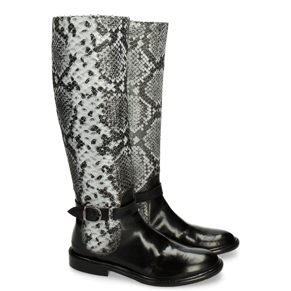 Bottes Sally 58 Snake Black Grey Strap Black New HRS Thick