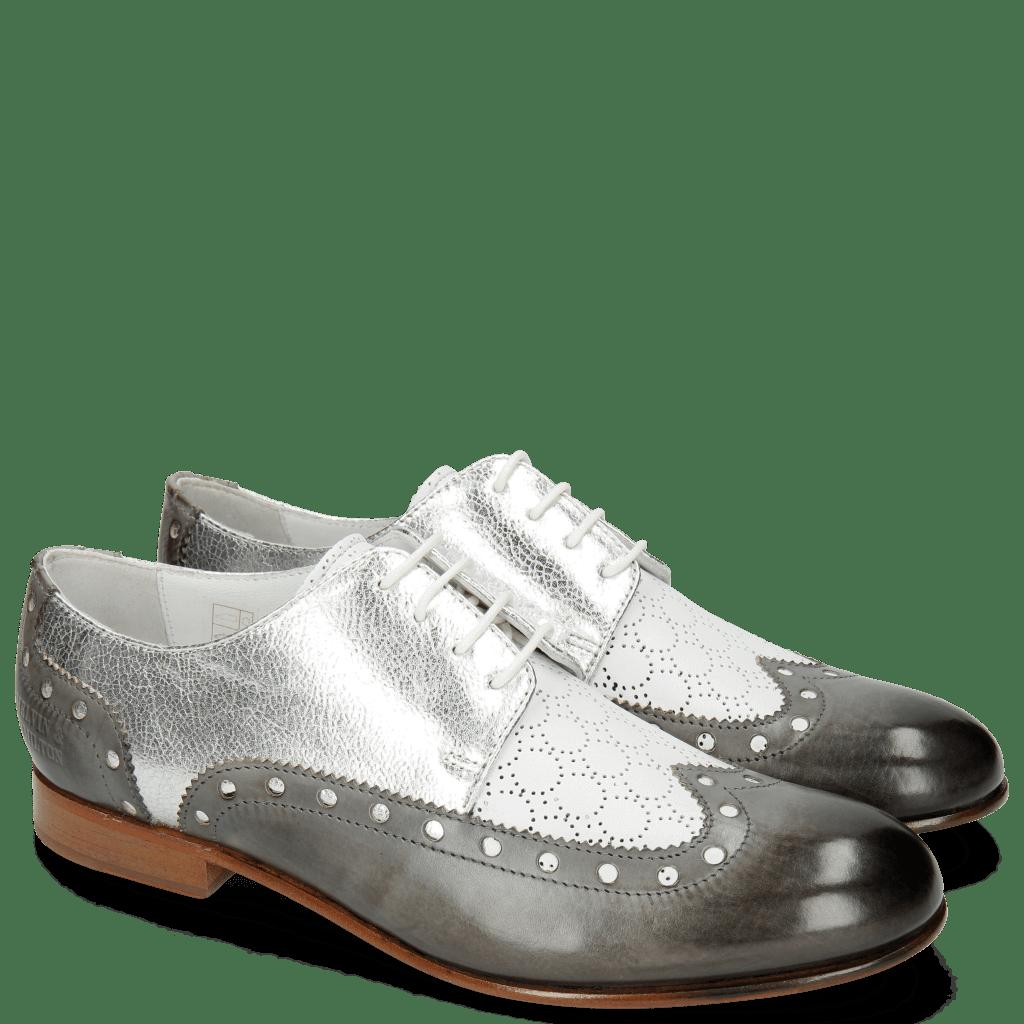 Derbies Sally 106 Grigio Nappa Perfo White Silver