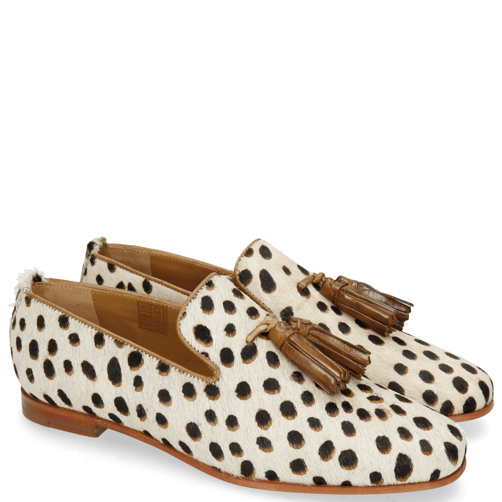 Mocassins Scarlett 20 Hairon Wildcat Off White Tassel Nougat