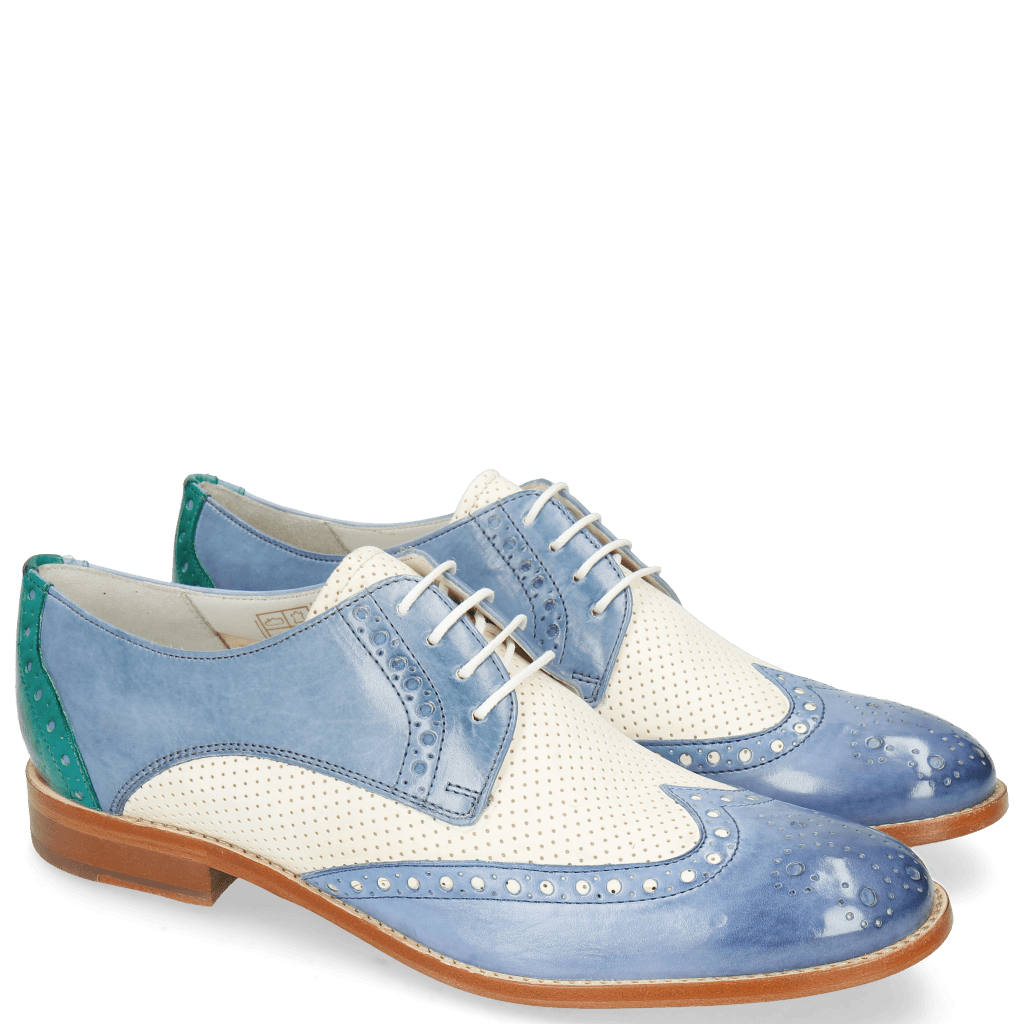 Derbies Amelie 3 Vegas Neptune Blue Perfo White Wind Onda