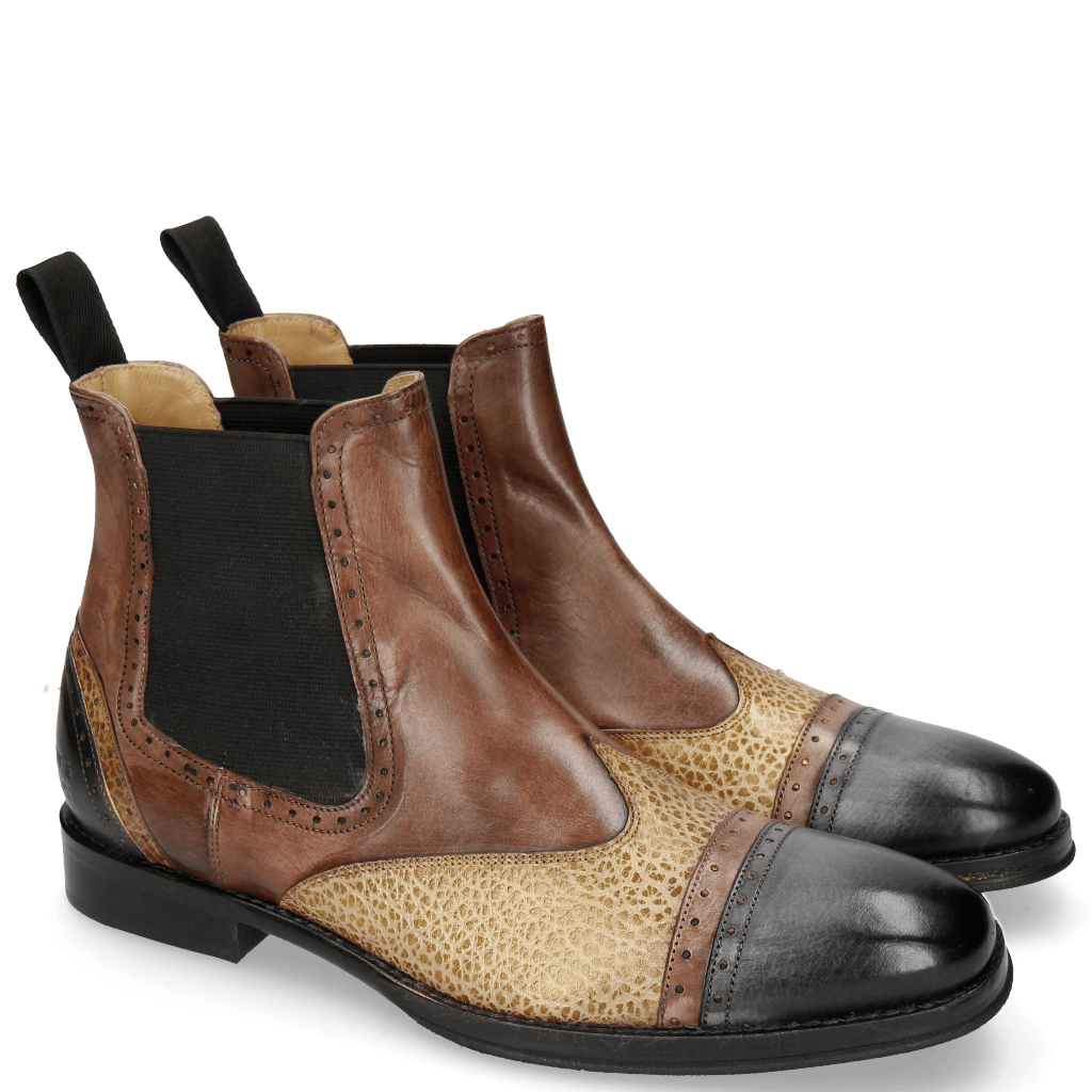 Bottines Phil 17 Black Mogano Rio Brazil Sand Gold Fondo
