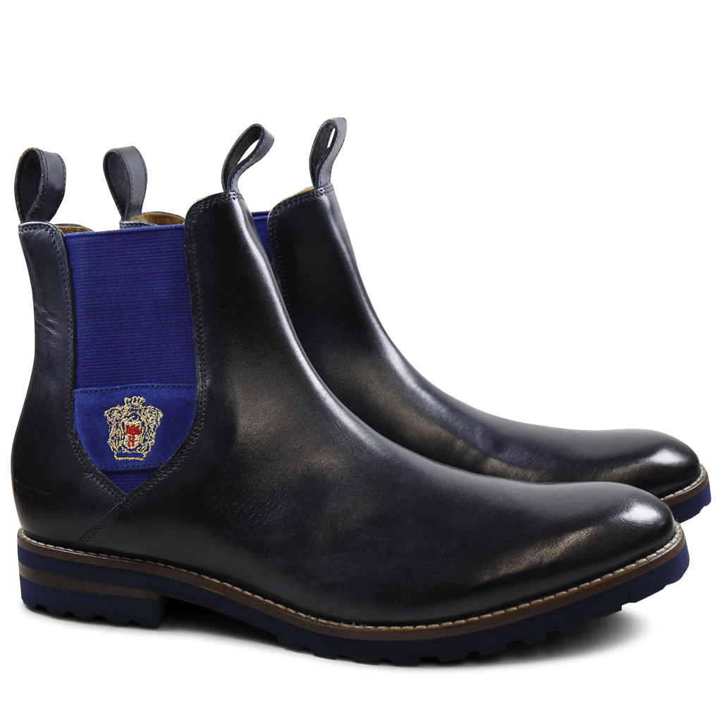 Bottines Eddy 27R Navy Strap Suede Electric Blue Embrodery Aspen Navy