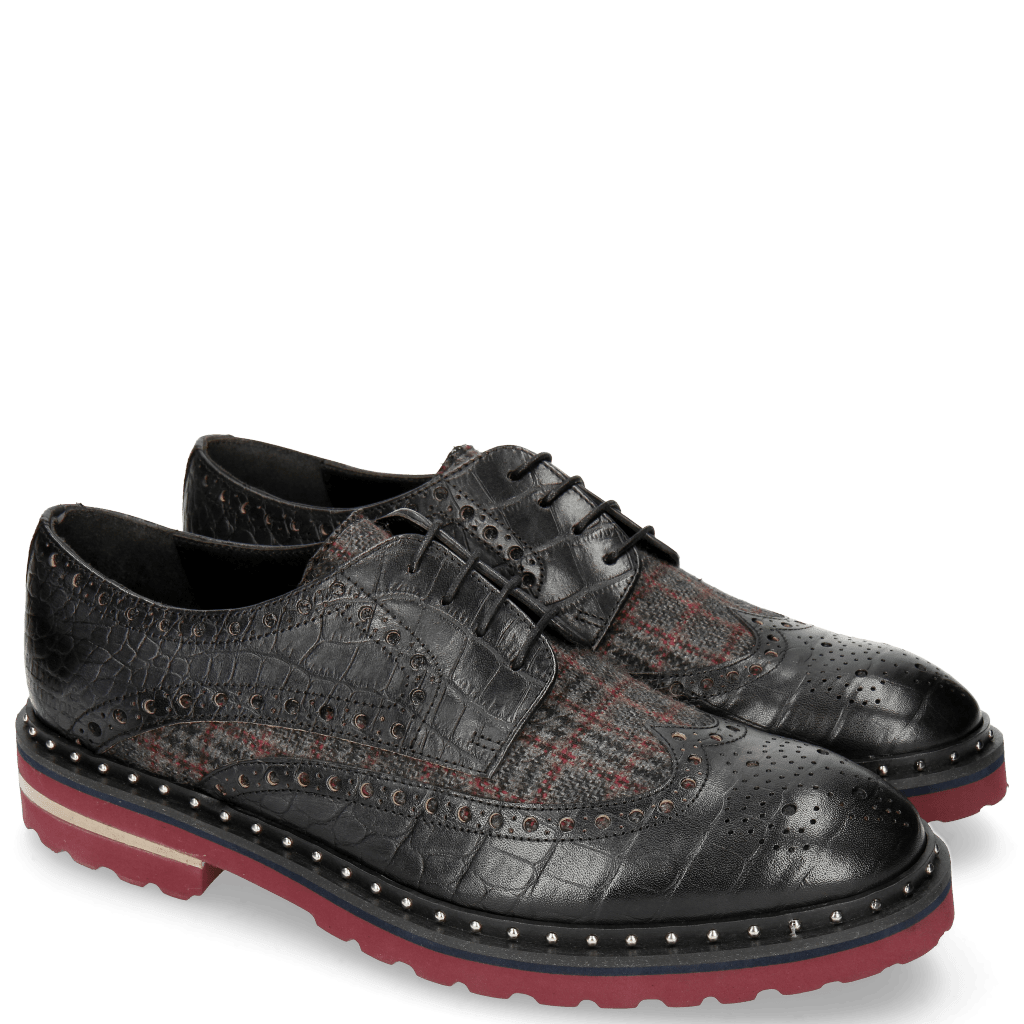 Derbies Matthew 4 Big Croco Black Textile Retro
