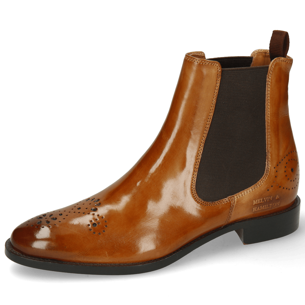 Bottines Betty 1 Cognac Elastic Dark Brown