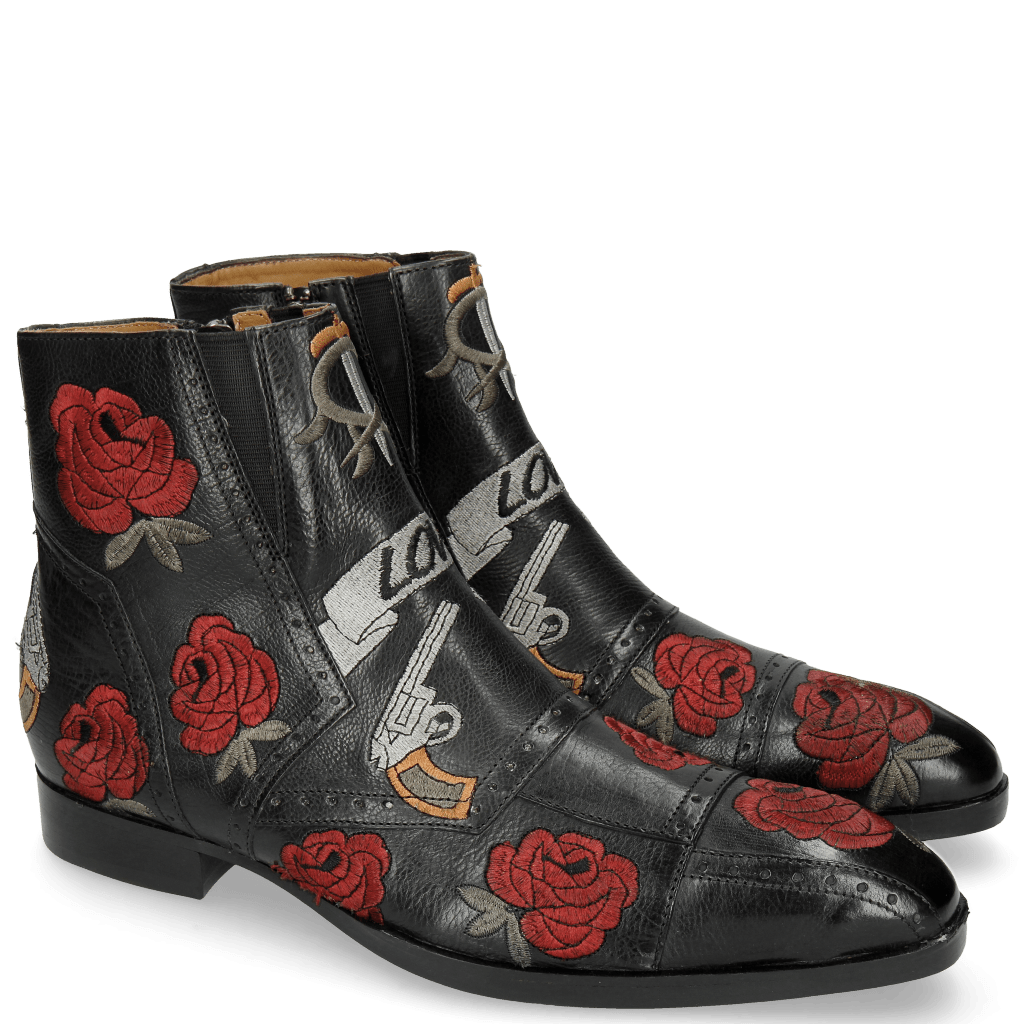 Bottines Ricky 11 Indus Black Embroidery Crown