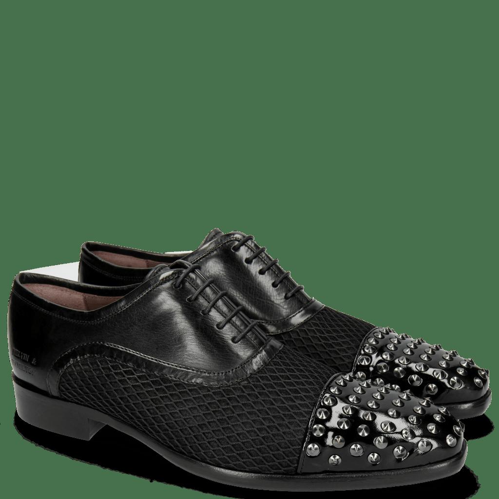Richelieu Lance 23 Patent Black Net Black Rivets