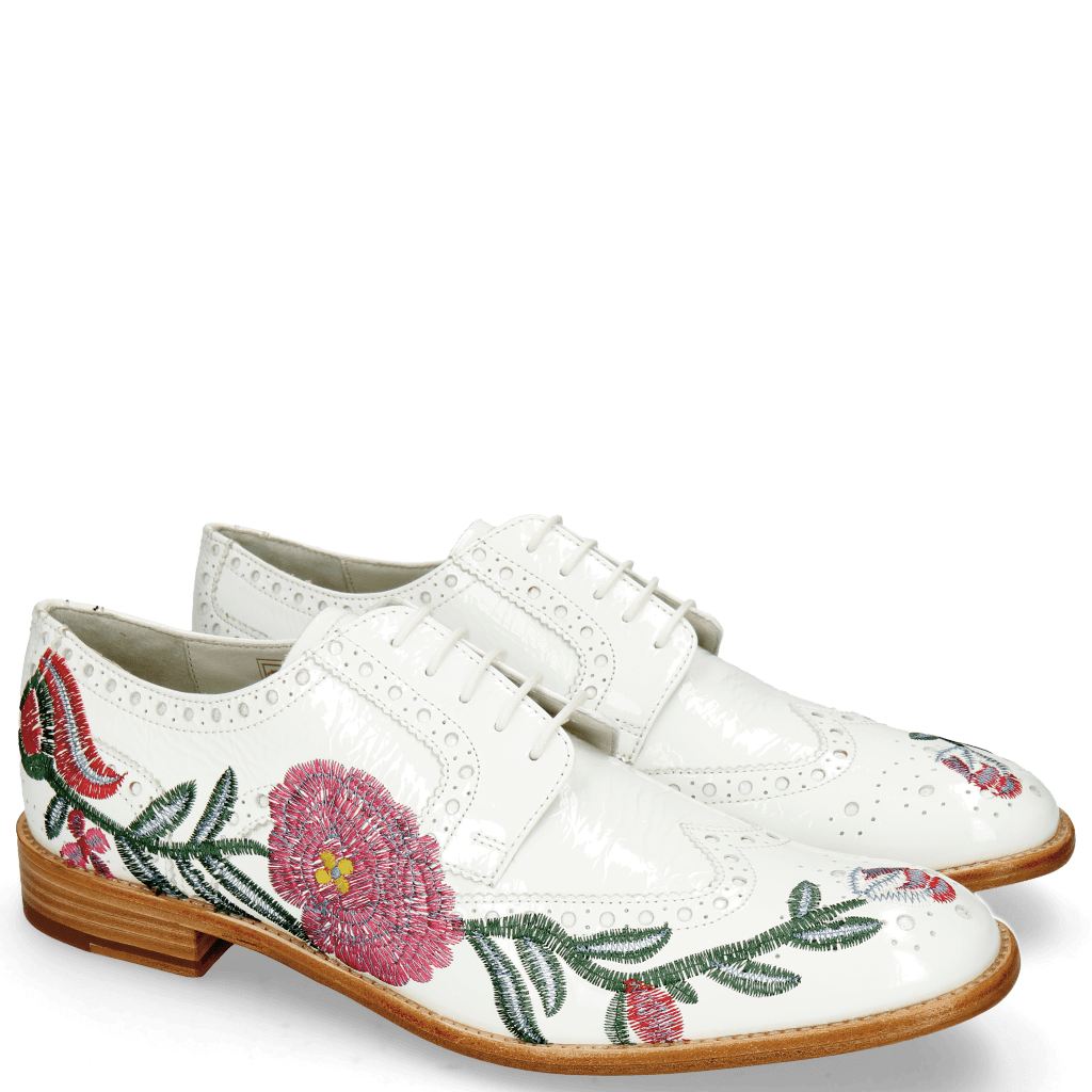 Derbies Eddy 38 Soft Patent White Embroidery Flowers