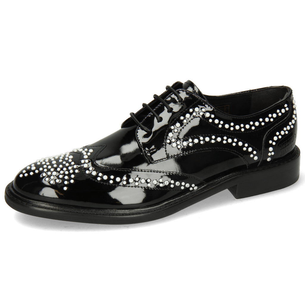 Derbies Sally 53 Patent Black Rivets White