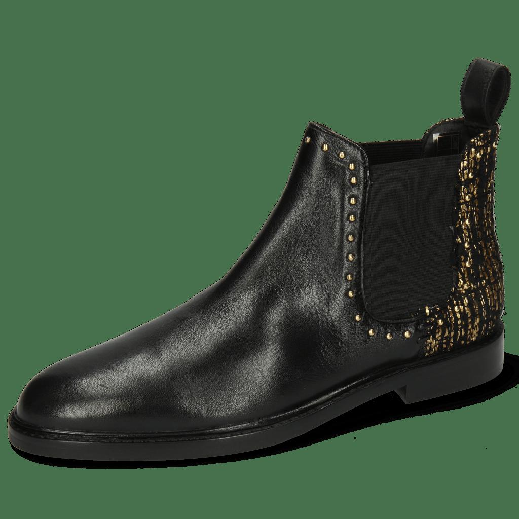Bottines Susan 37 Nappa Black Textile Tweed Gold Rivets