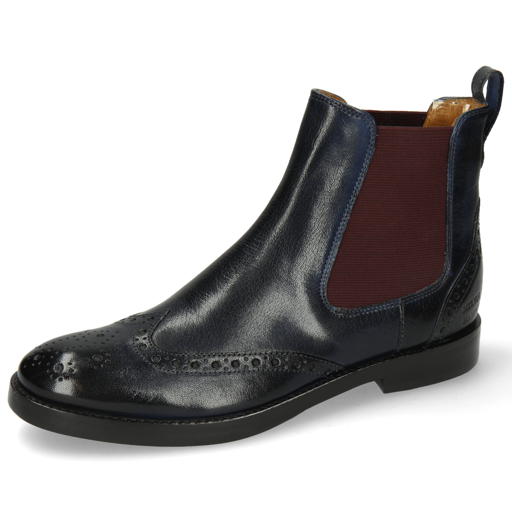 Bottines Amelie 5 Venice Navy Elastic Burgundy
